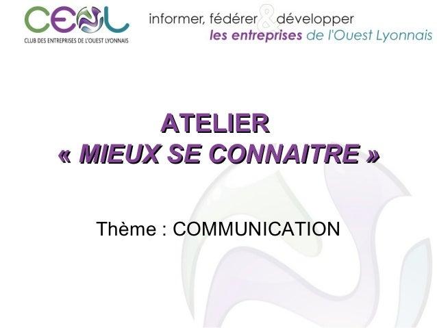 ATELIERATELIER «« MIEUX SE CONNAITRE »MIEUX SE CONNAITRE » Thème : COMMUNICATION