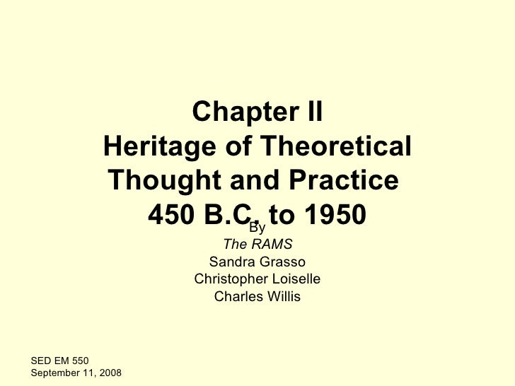 Chapter II Heritage of Theoretical Thought and Practice  450 B.C. to 1950 By The RAMS Sandra Grasso Christopher Loiselle C...