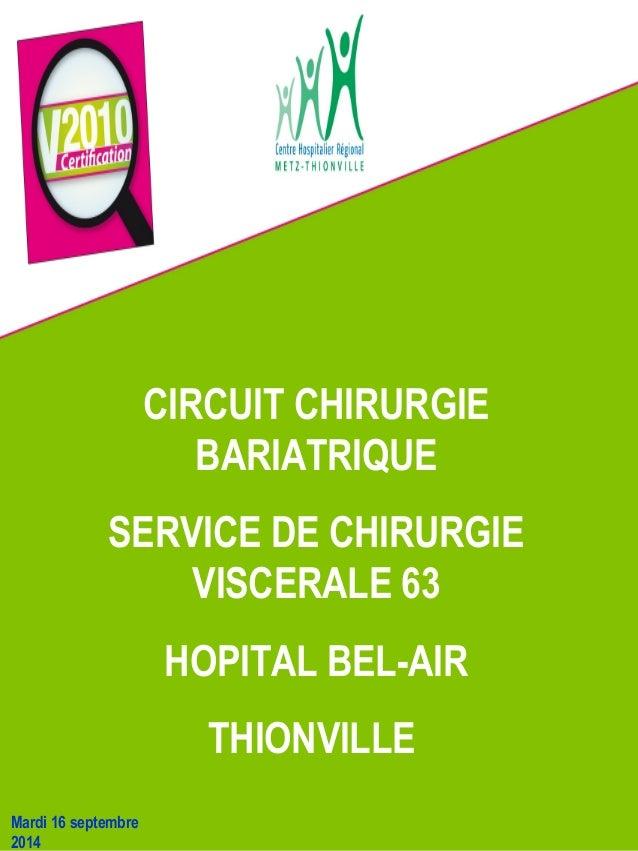 CIRCUIT CHIRURGIE  BARIATRIQUE  SERVICE DE CHIRURGIE  VISCERALE 63  HOPITAL BEL-AIR  THIONVILLE  Mardi 16 septembre  2014