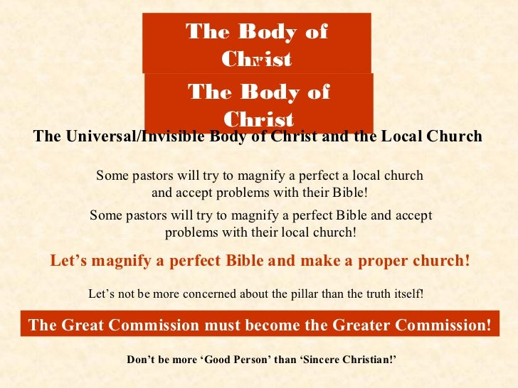 The Body of                            Christ                               vs                          The Body of       ...