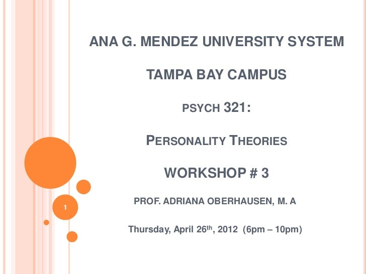 ANA G. MENDEZ UNIVERSITY SYSTEM            TAMPA BAY CAMPUS                    PSYCH    321:           PERSONALITY THEORIE...