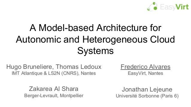 A Model-based Architecture for Autonomic and Heterogeneous Cloud Systems Frederico Alvares EasyVirt, Nantes Zakarea Al Sha...