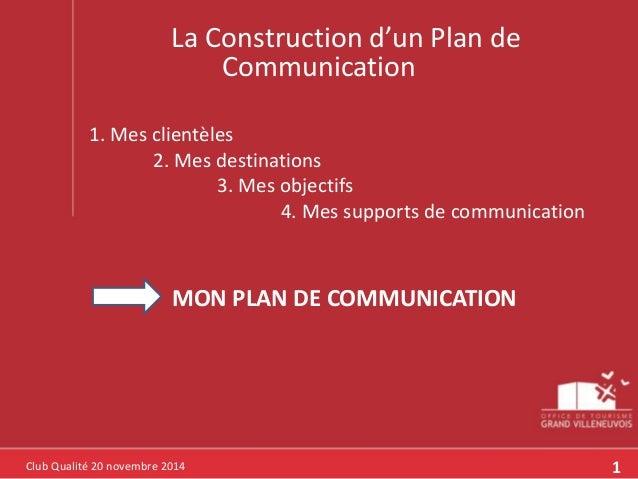 La Construction d'un Plan de  Club Qualité 20 novembre 2014  Communication  1. Mes clientèles  2. Mes destinations  3. Mes...