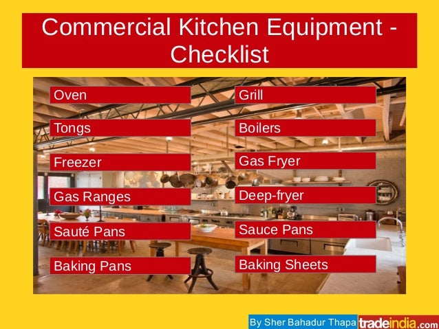 Equipment checklist equipment checklist marine services for Kitchen equipment list