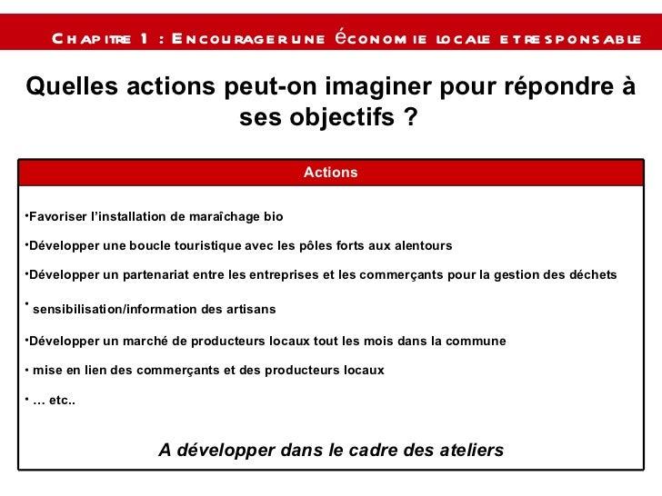 Chapitre 1 : Encourager une économie locale et responsable   Quelles actions peut-on imaginer pour répondre à ses objectif...
