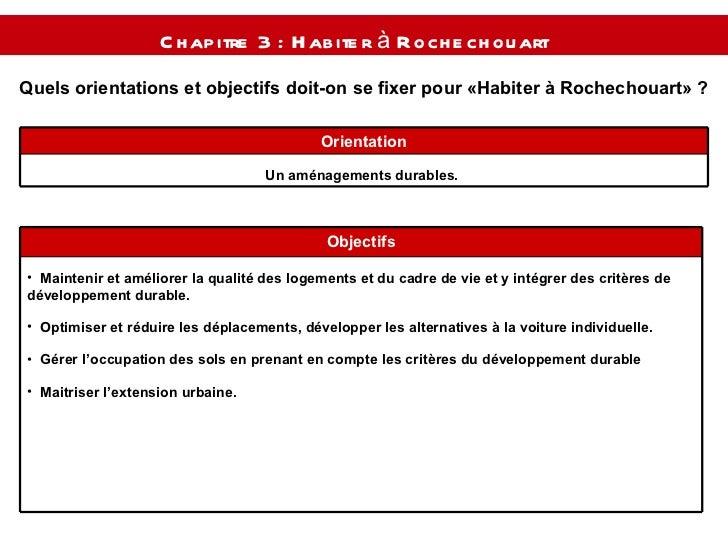Quels orientations et objectifs doit-on se fixer pour « Habiter à Rochechouart » ? Chapitre 3 : Habiter à Rochechouart  Un...