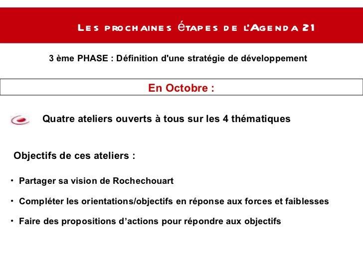 Les prochaines étapes de l'Agenda 21  3 ème PHASE :  Définition d'une stratégie de développement  durable Quatre ateliers ...