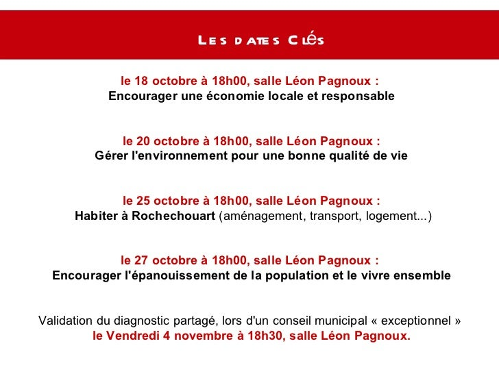 Les dates Clés  le 18 octobre à 18h00, salle Léon Pagnoux :  Encourager une économie locale et responsable le 20 octobre à...