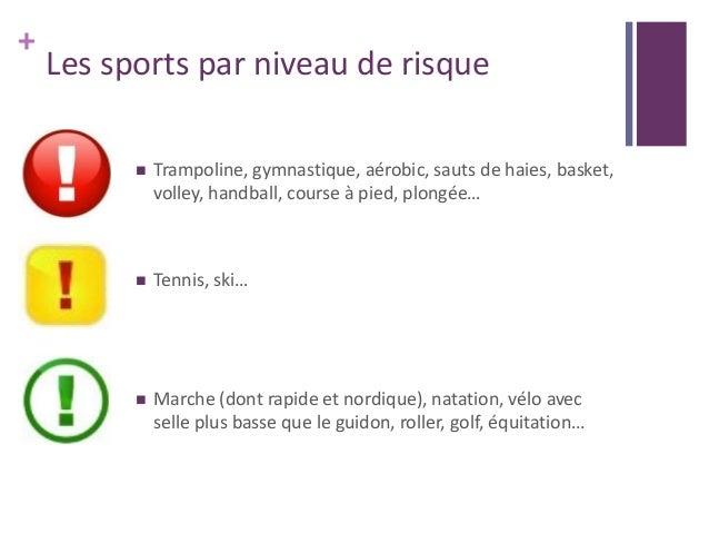 + Les sports par niveau de risque  Trampoline, gymnastique, aérobic, sauts de haies, basket, volley, handball, course à p...