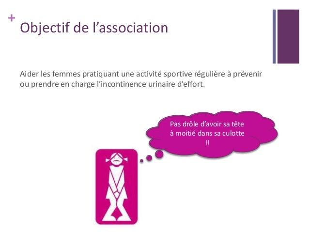 + Objectif de l'association Aider les femmes pratiquant une activité sportive régulière à prévenir ou prendre en charge l'...