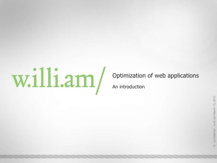 Optimization of web applications<br />An introduction<br />