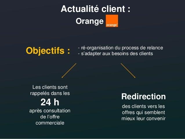 Actualité client : Orange +14 % de taux de transformation 4,5/10 offres envoyées concrétisées Retombées observées : & Proj...