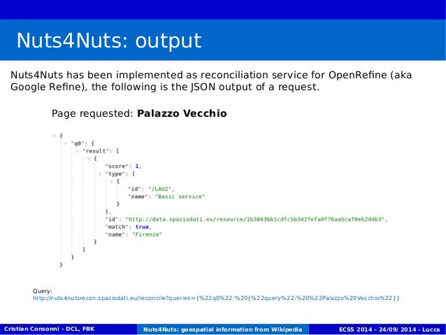 Nuts4Nuts: output  Nuts4Nuts has been implemented as reconciliation service for OpenRefine (aka  Google Refine), the follo...