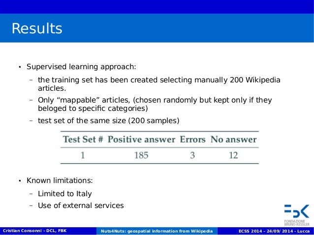 Results  ● Supervised learning approach:  – the training set has been created selecting manually 200 Wikipedia  articles. ...