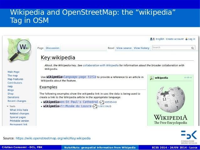 "Wikipedia and OpenStreetMap: the ""wikipedia""  Tag in OSM  Source: https://wiki.openstreetmap.org/wiki/Key:wikipedia  Crist..."