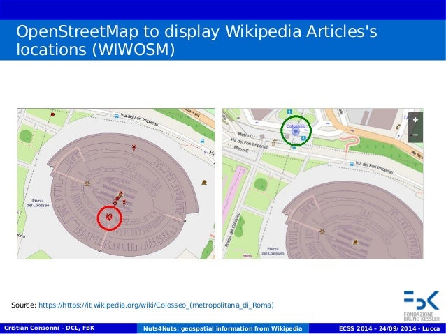 OpenStreetMap to display Wikipedia Articles's  locations (WIWOSM)  Source: https://https://it.wikipedia.org/wiki/Colosseo_...