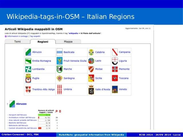 Wikipedia-tags-in-OSM – Italian Regions  Cristian Consonni – DCL, FBK Nuts4Nuts: geospatial information from Wikipedia ECS...
