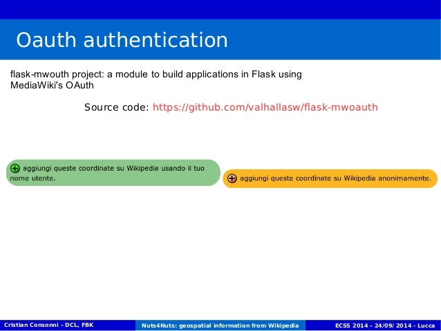 Oauth authentication  flask-mwouth project: a module to build applications in Flask using  MediaWiki's OAuth  Source code:...