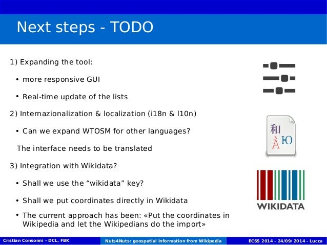 Next steps - TODO  1) Expanding the tool:  ● more responsive GUI  ● Real-time update of the lists  2) Internazionalization...