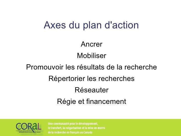 Axes du plan d'action Ancrer Mobiliser Promouvoir les résultats de la recherche Répertorier les recherches Réseauter Régie...