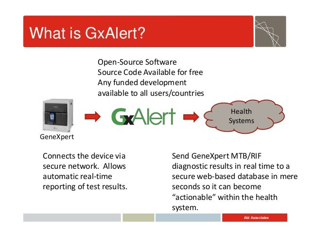 Abt Associates What is GxAlert? GeneXpert Health Systems Connects the device via secure network. Allows automatic real-tim...