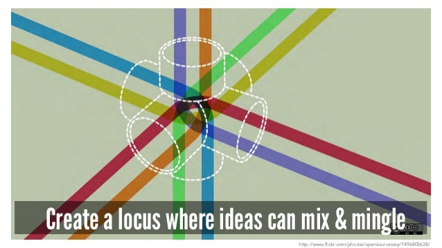 Create a locus where ideas can mix & mingle http://www.flickr.com/photos/opensourceway/7496803638/