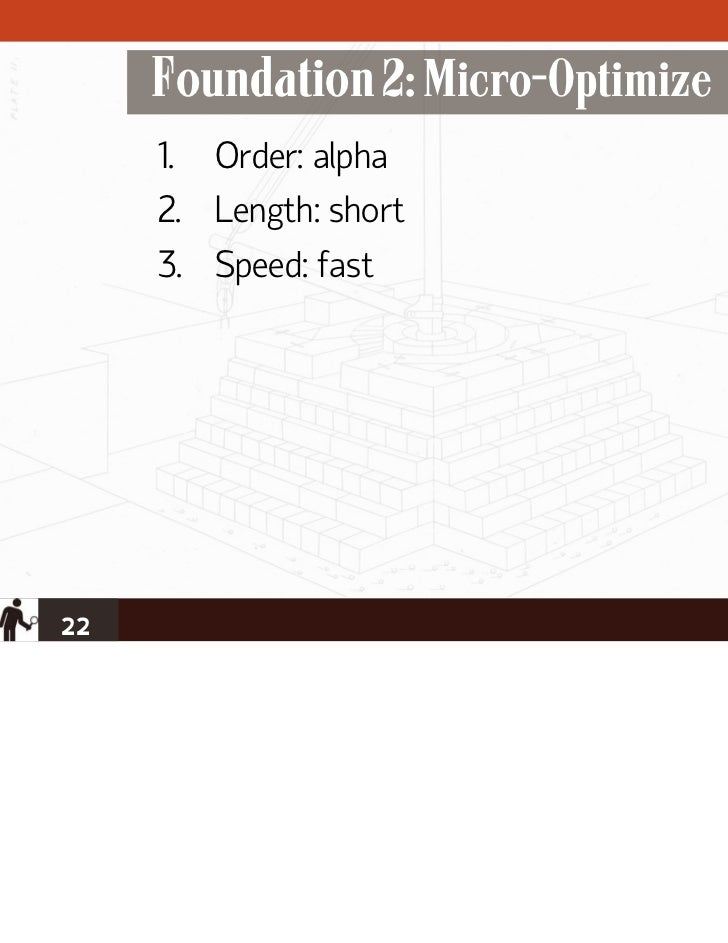 Foundation 2: Micro-Optimize     1. Order: alpha     2. Length: short     3. Speed: fast22