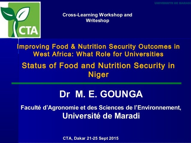 Improving Food & Nutrition Security Outcomes in West Africa: What Role for Universities Status of Food and Nutrition Secur...