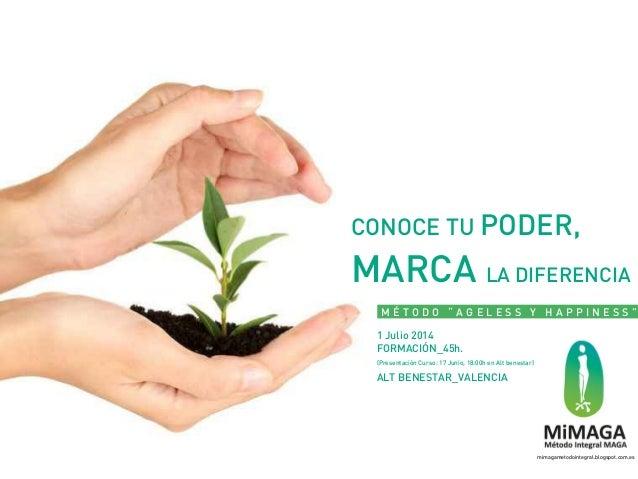 """CONOCE TU PODER, MARCA LA DIFERENCIA M É T O D O """" A G E L E S S Y H A P P I N E S S """" 1 Julio 2014 FORMACIÓN_45h. (Presen..."""