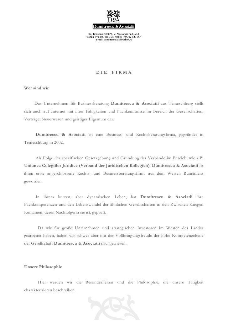 DIE      FIRMAWer sind wir     Das Unternehmen für Businessberatung Dumitrescu & Asociatii aus Temeschburg stelltsich auch...