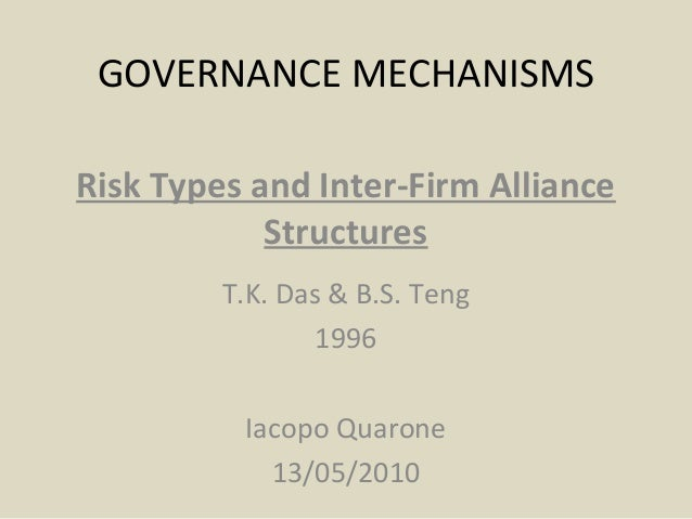 GOVERNANCE MECHANISMS Risk Types and Inter-Firm Alliance Structures T.K. Das & B.S. Teng 1996 Iacopo Quarone 13/05/2010