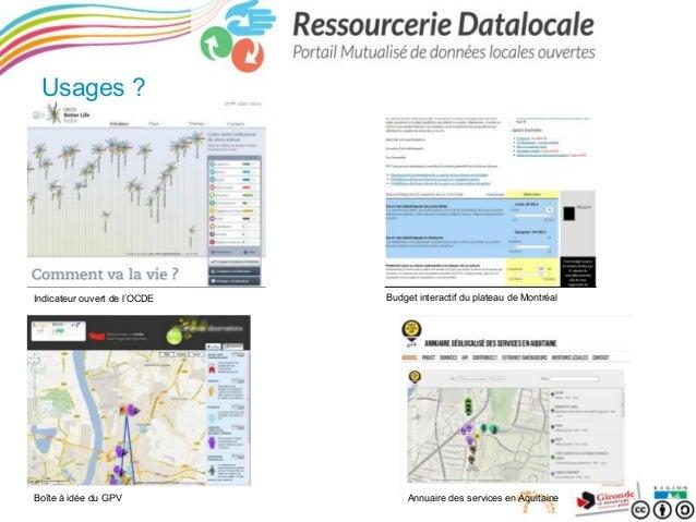 Usages ?  Indicateur ouvert de l'OCDE  Boîte à idée du GPV  Budget interactif du plateau de Montréal  Annuaire des service...