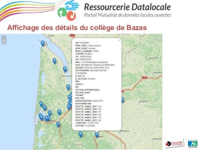 Affichage des détails du collège de Bazas