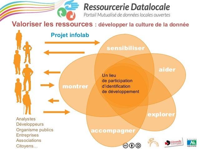 Valoriser les ressources : développer la culture de la donnée Projet infolab sensibiliser  montrer  Analystes Développeurs...