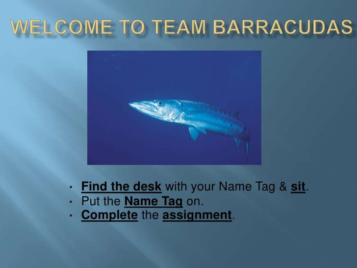 Welcome to Team Barracudas<br /><ul><li>Find the desk with your Name Tag & sit.