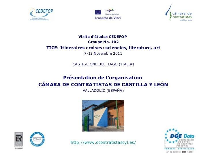 Visite d'études CEDEFOP  Groupe No. 102 TICE: Itineraires croises: sciencies, literature, art 7-12 Novembre 2011 CASTIGLIO...