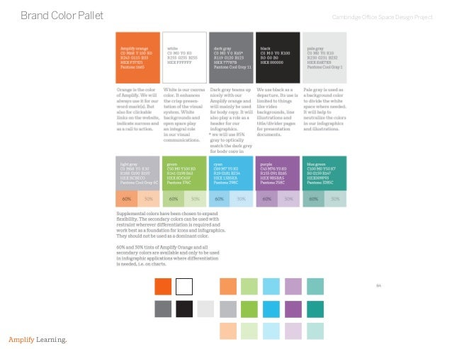Cambridge Office Space Design Project Amplify Learning. Brand Color Pallet