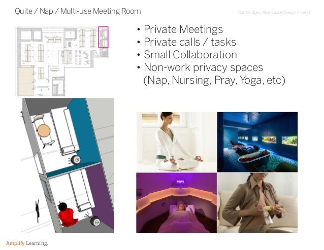 Cambridge Office Space Design Project Amplify Learning. Quite / Nap / Multi-use Meeting Room • Private Meetings • Private ...
