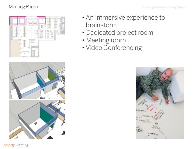 Cambridge Office Space Design Project Amplify Learning. Meeting Room • An immersive experience to brainstorm • Dedicated p...