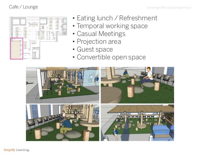Cambridge Office Space Design Project Amplify Learning. Cafe / Lounge • Eating lunch / Refreshment • Temporal working spac...