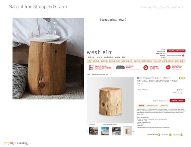 Cambridge Office Space Design Project Amplify Learning. Natural Tree Stump Side Table Suggested quantity: 9