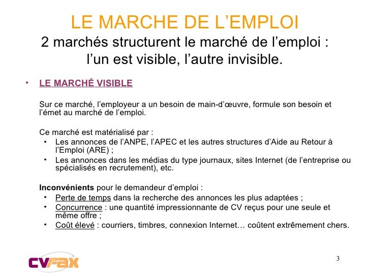 LE MARCHE DE L'EMPLOI 2 marchés structurent le marché de l'emploi : l'un est visible, l'autre invisible. <ul><li>LE MARCH ...