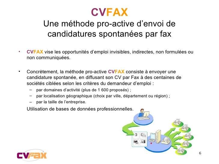 CV FAX Une méthode pro-active d'envoi de candidatures spontanées par fax <ul><li>CV FAX  vise les opportunités d'emploi in...