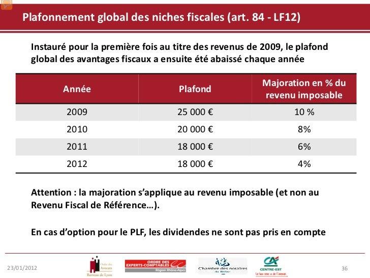 Pr sentation de la loi de finances 2012 - Plafond revenu fiscal de reference ...