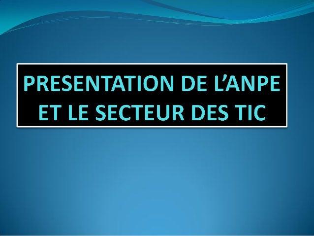 I-PRESENTATION DE L'ANPE  Créée en 2008 par décret présidentiel et devenue opérationnelle en 2010, l'Agence Nationale Pou...