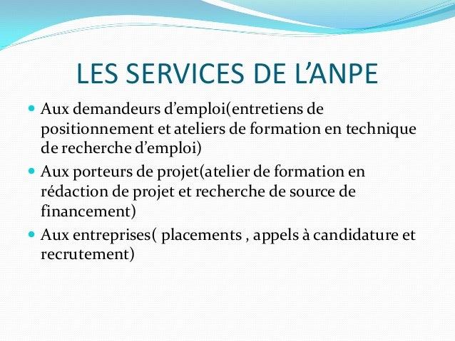 presentation de l u2019anpe et le secteur des tic