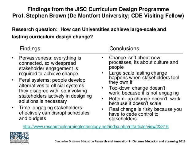 Findings from the JISC Curriculum Design Programme Prof. Stephen Brown (De Montfort University; CDE Visiting Fellow) Resea...