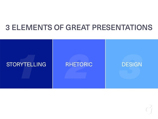 STORYTELLING RHETORIC DESIGN 1 2 3 3 ELEMENTS OF GREAT PRESENTATIONS