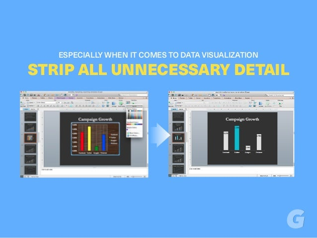ESPECIALLY WHEN IT COMES TO DATA VISUALIZATION STRIP ALL UNNECESSARY DETAIL