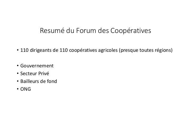 Présentation des problèmes et recommandations des coopératives Slide 2